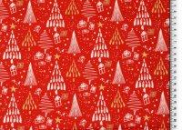 Weihnachten Baumwolle Bäume rot/glitzer