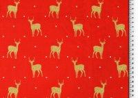 Weihnachten Baumwolle Rentier rot/glitzer