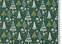 Weihnachten Baumwolle Glitzer Bäume grün
