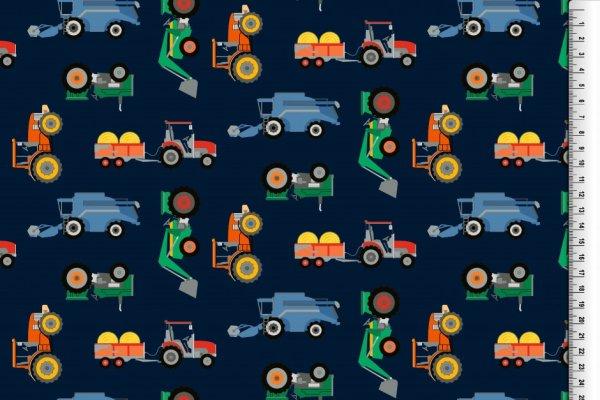 Baumwoll Jersey Traktor blau