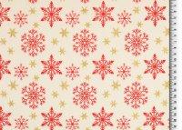 Weihnachten Baumwolle Schneeflocken/Sterne beige