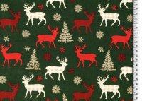 Weihnachten Baumwolle Reh grün