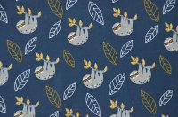Baumwoll Jersey Faultier blau