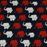 Baumwoll Jersey Elefanten Parade Blau/Rot