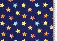 Baumwoll Jersey blau mit bunten Sternen