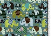 Baumwoll Jersey Elefanten pistazie