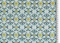 Bio Baumwolle, gemustert blau