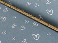 Baumwoll Jersey Druck Herzberührt grau