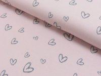 Baumwoll Jersey Druck Herzberührt rosa