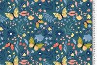 French Terry Blumen/Schmetterling/petrol