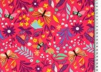 French Terry Blumen/Schmetterling/pink