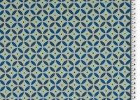French Terry Druck, Blumen Mint/Blau