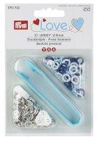 Druckknöpfe 8mm Prym Love blau/weiß