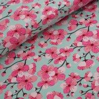 Bio Jersey Kirschblüten grün