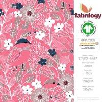 Bio Jersey Blumen rosa